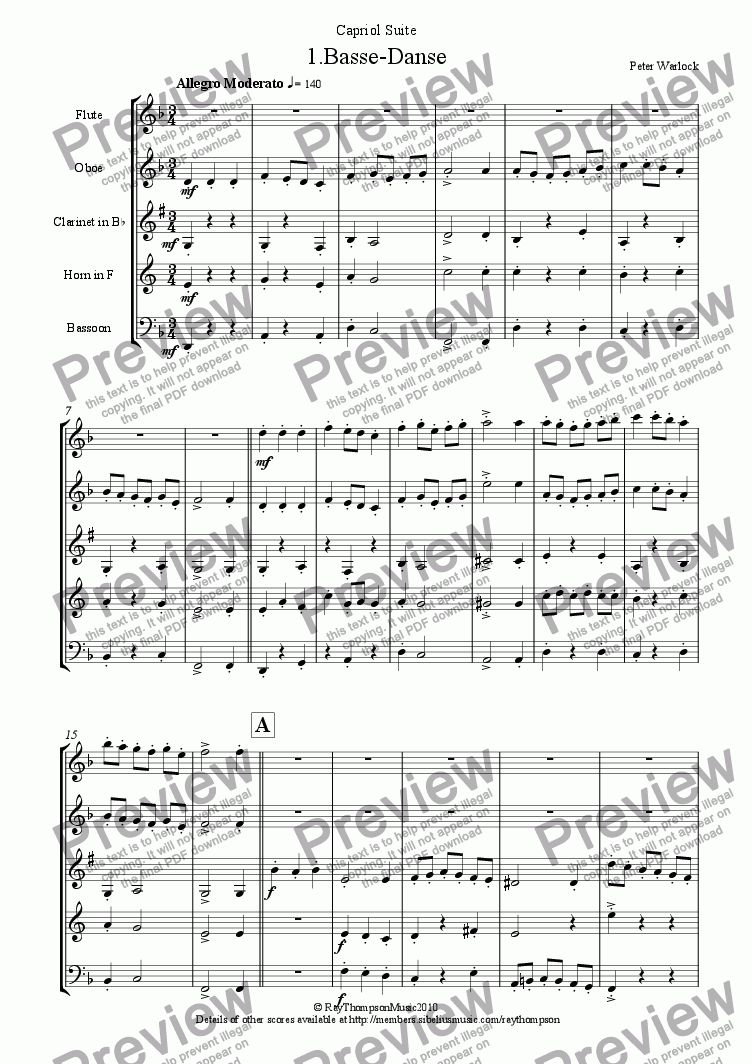 page one of Capriol Suite: 1.Basse-Danse (Wind Quintet)