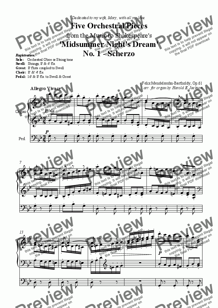page one of Mendelssohn 'A Midsummer Night's Dream' Suite arranged for OrganASALTTEXT