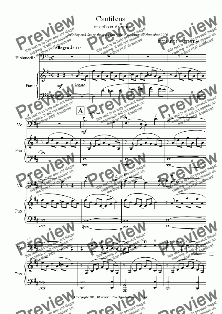 page one of Cantilena for cello and piano