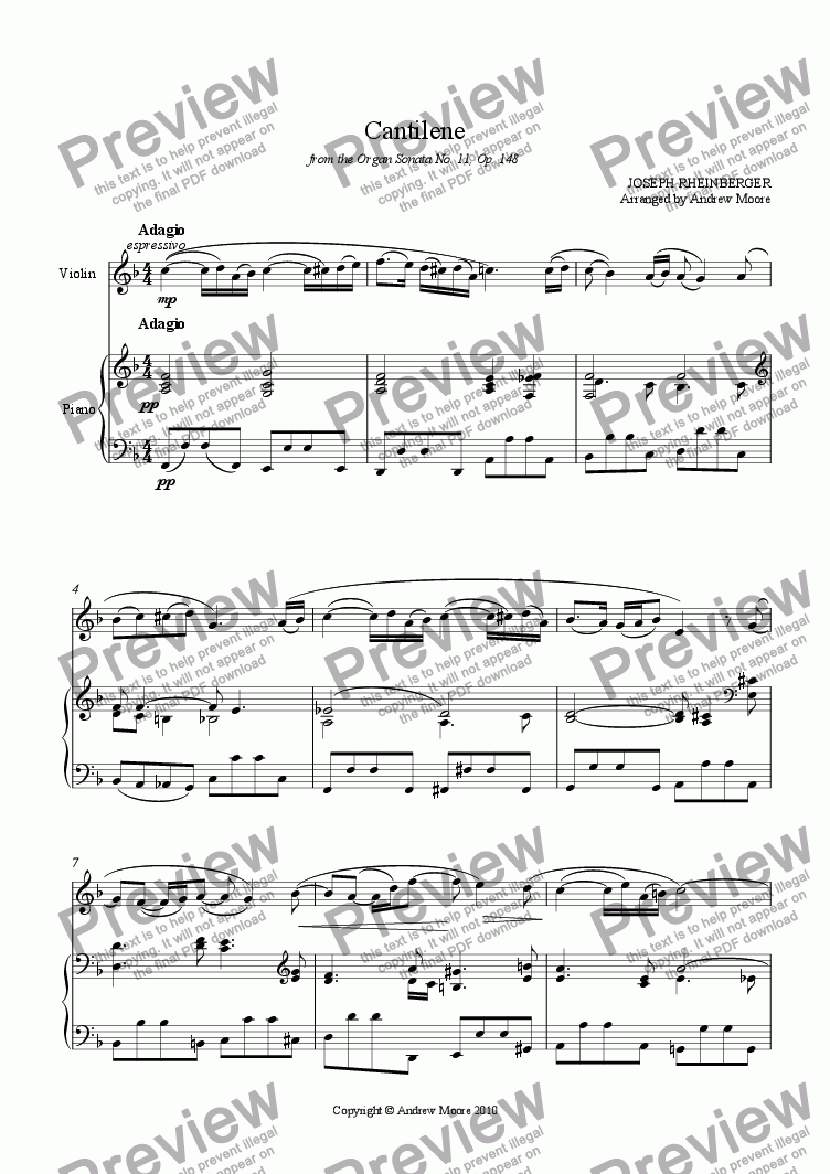 page one of 'Cantilene' from Sonata No. 11 (Op.148) arranged for violin & piano