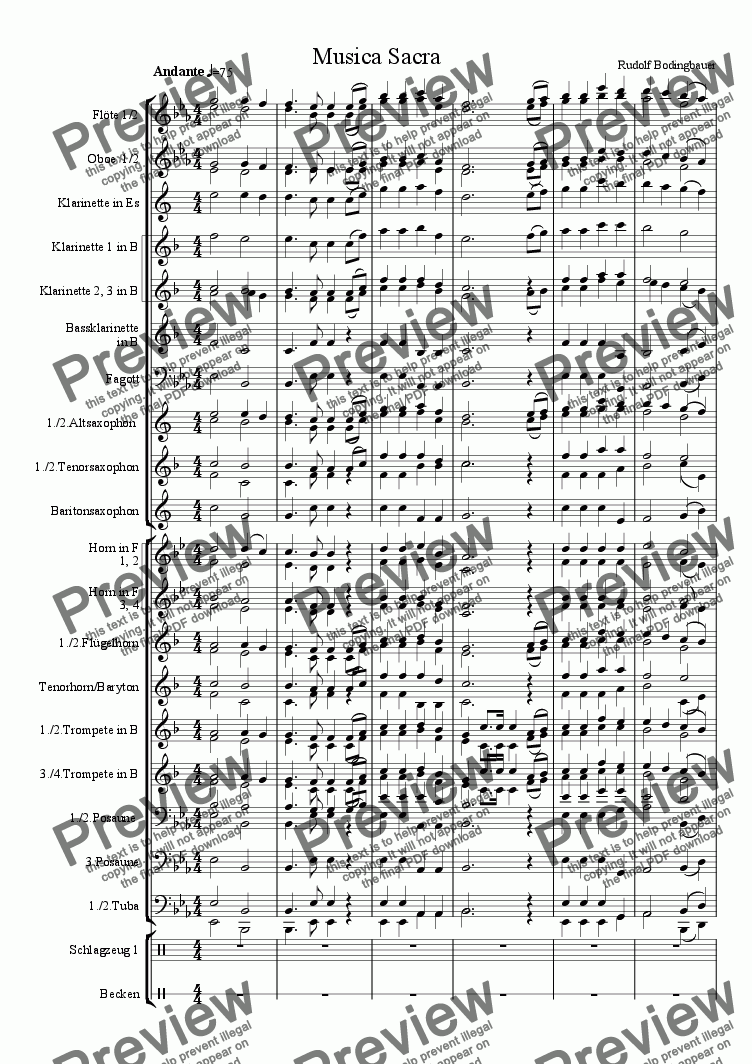page one of Musica Sacra Blasorchester