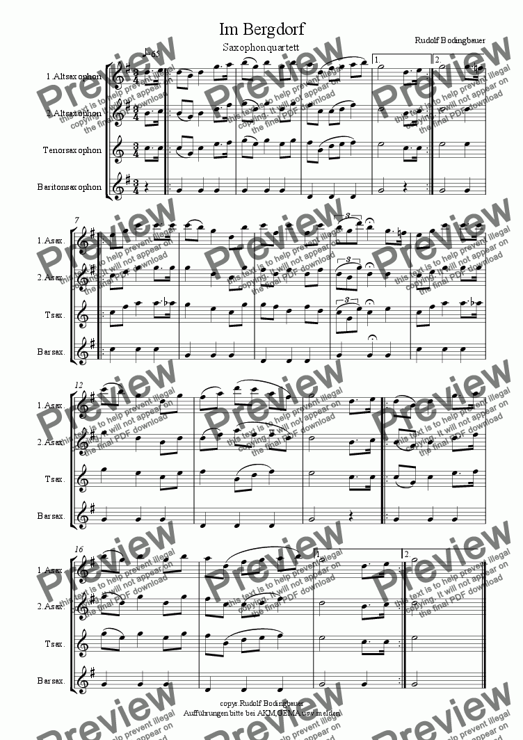 page one of Im Bergdorf Saxophonquartett