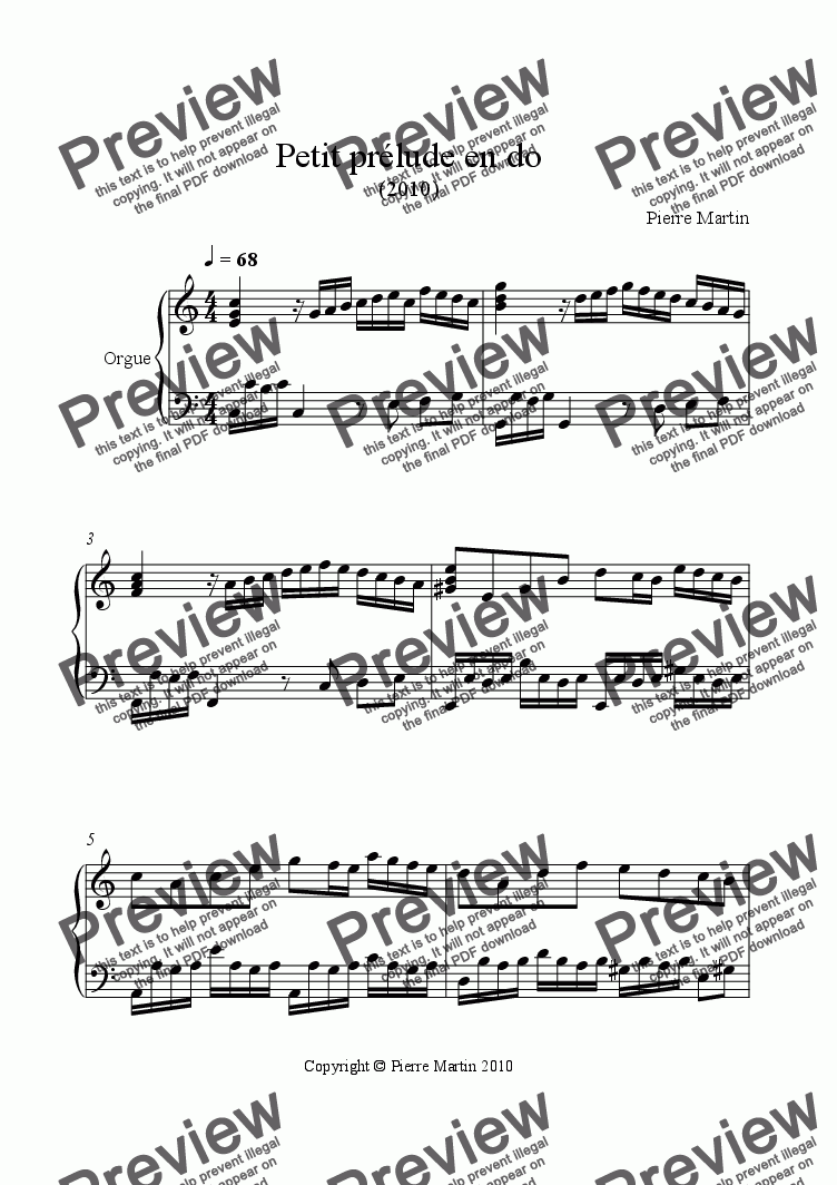 page one of Little Prelude in C for Organ (2010)