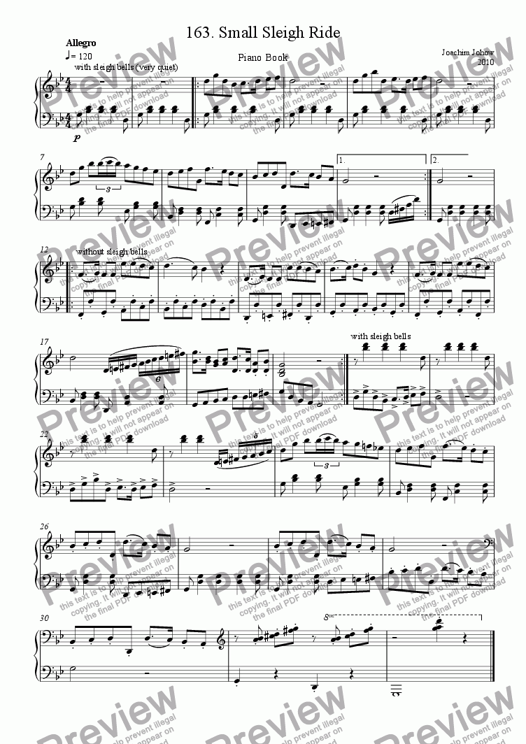 page one of Piano Book 163  (The  small sleight ride)