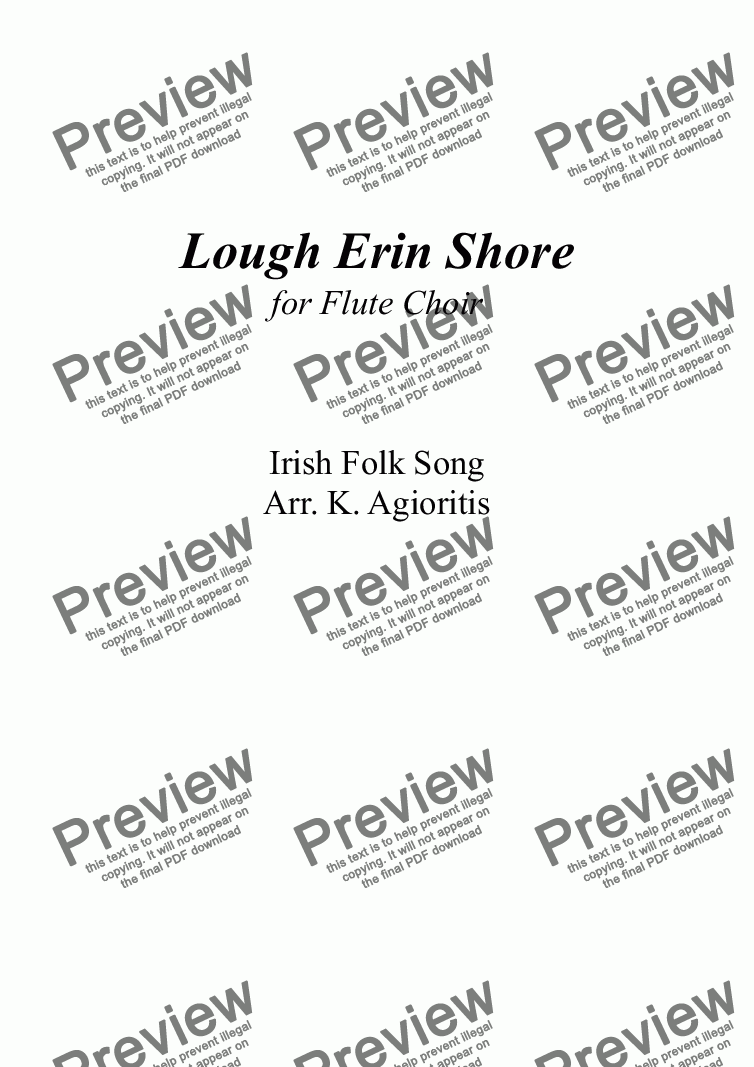 page one of Lough Erin Shore - Flute Choir