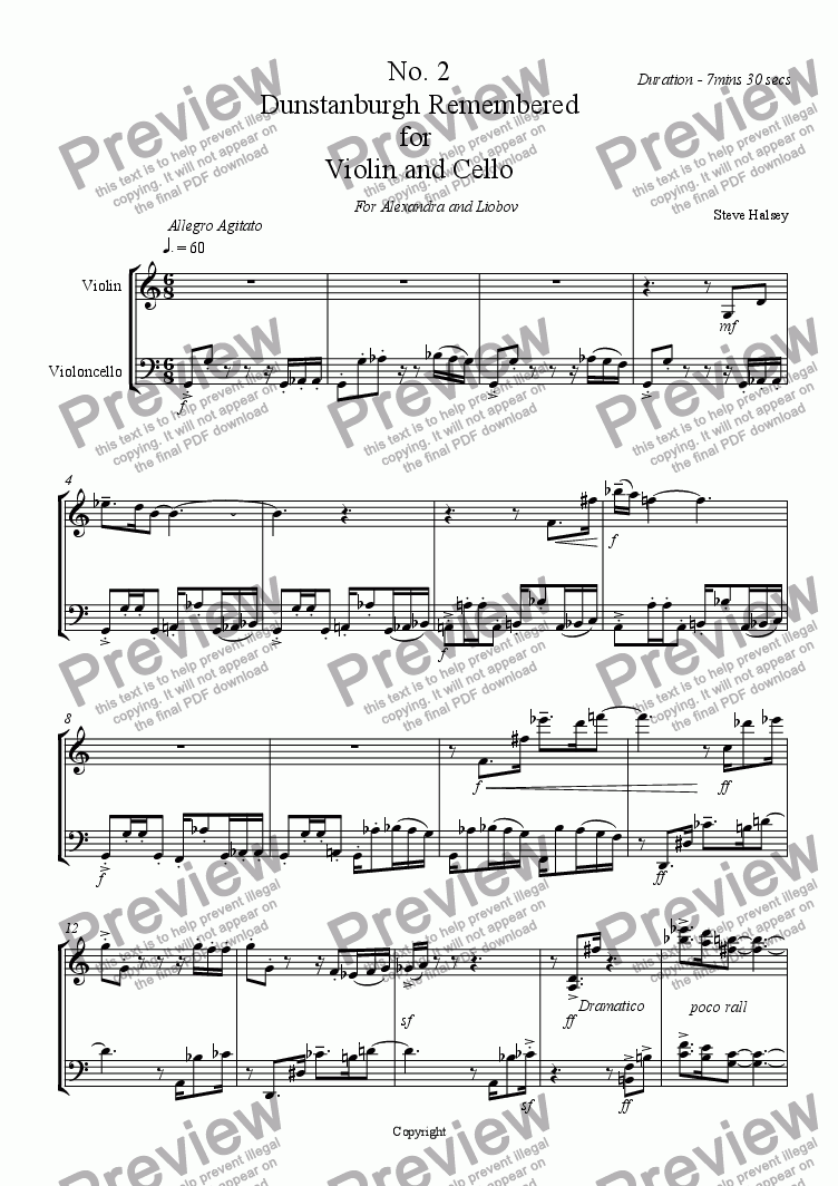 page one of Dunstanburgh Remembered Duet for Violin and Cello