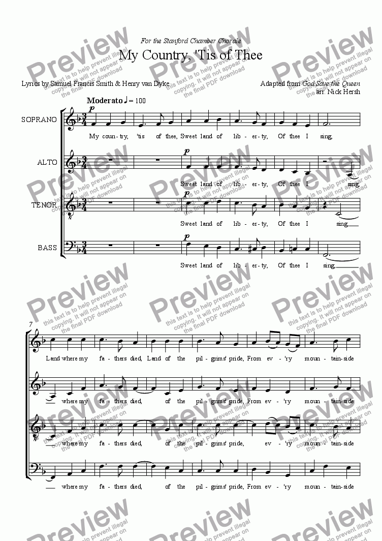 page one of My Country, 'Tis of Thee [SSAATTBB Choir]