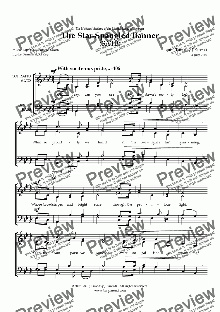 page one of The Star-Spangled Banner (SATB)