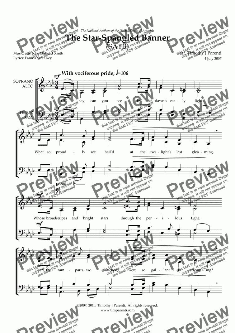 The Star Spangled Banner Satb Download Sheet Music Pdf File