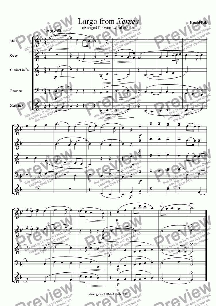 page one of Xerxes for Woodwind Quintet