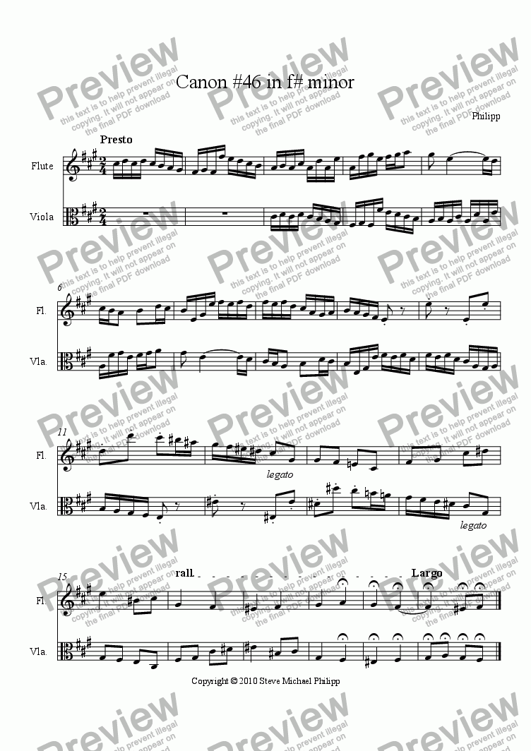 page one of Canon #46 in f# minor