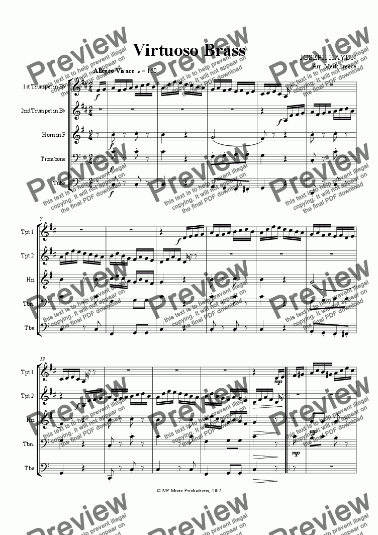 page one of Haydn - Virtuoso Brass Quintet