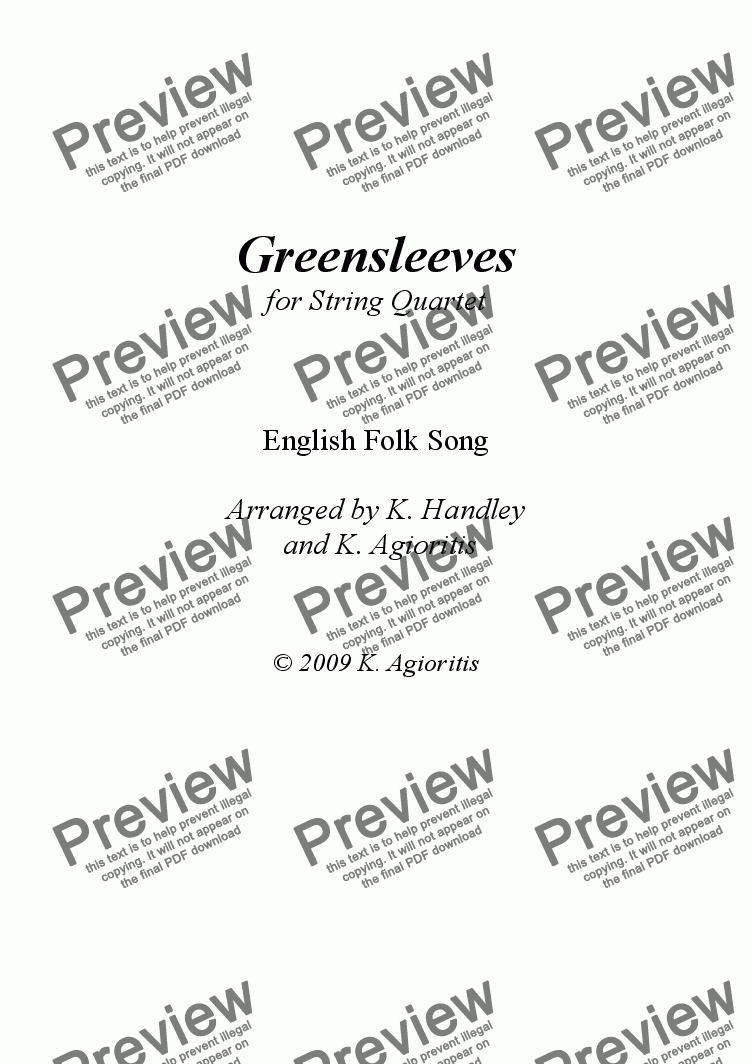 page one of Greensleeves/What Child Is This? - for String Quartet