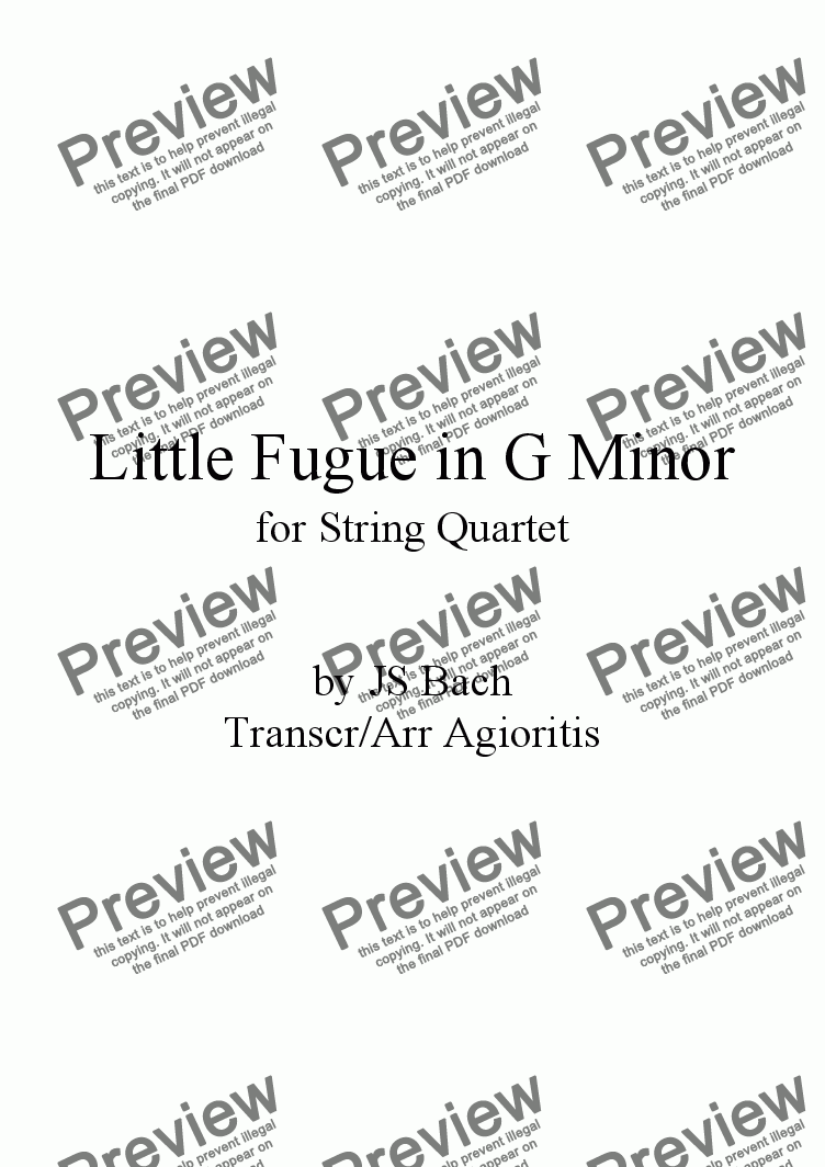 page one of 'Little' Fugue in G Minor - for String Quartet