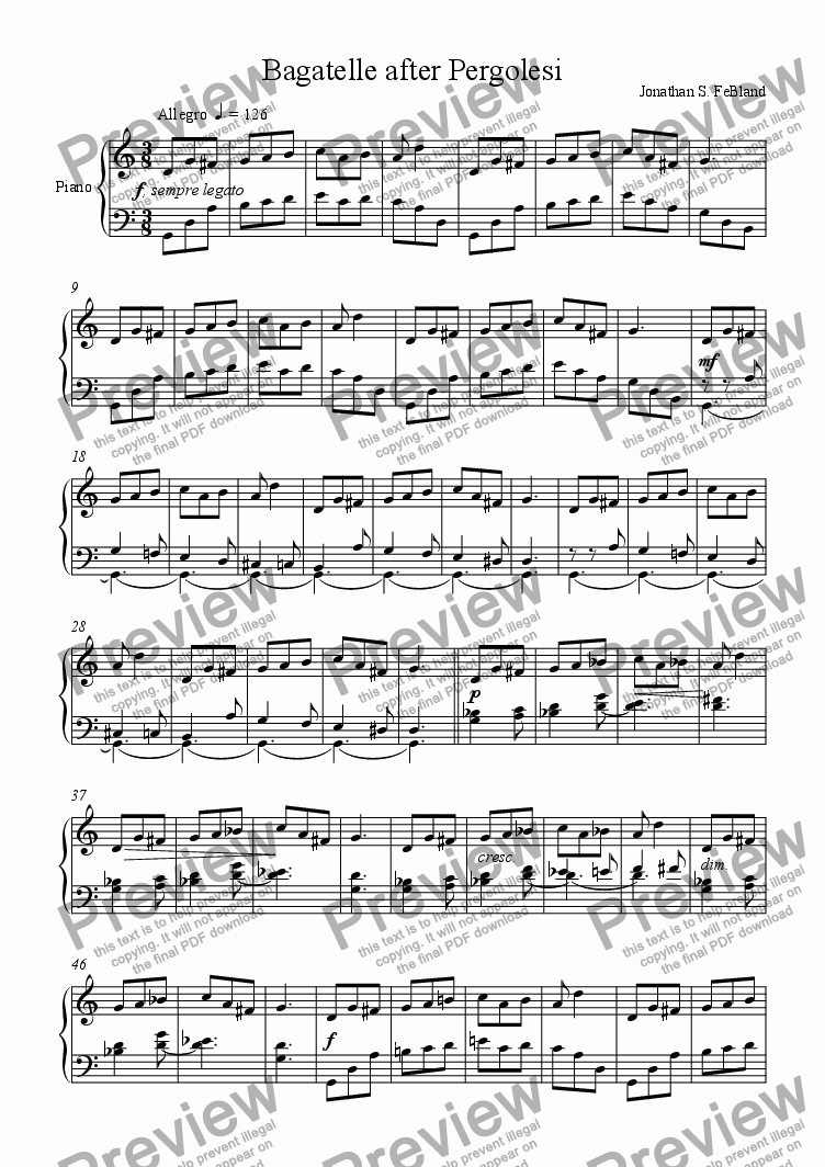 page one of Bagatelle after Pergolesi