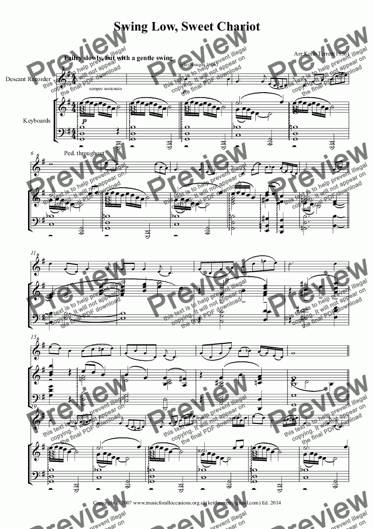 page one of Swing Low, Sweet Chariot for Descant Recorder & Piano