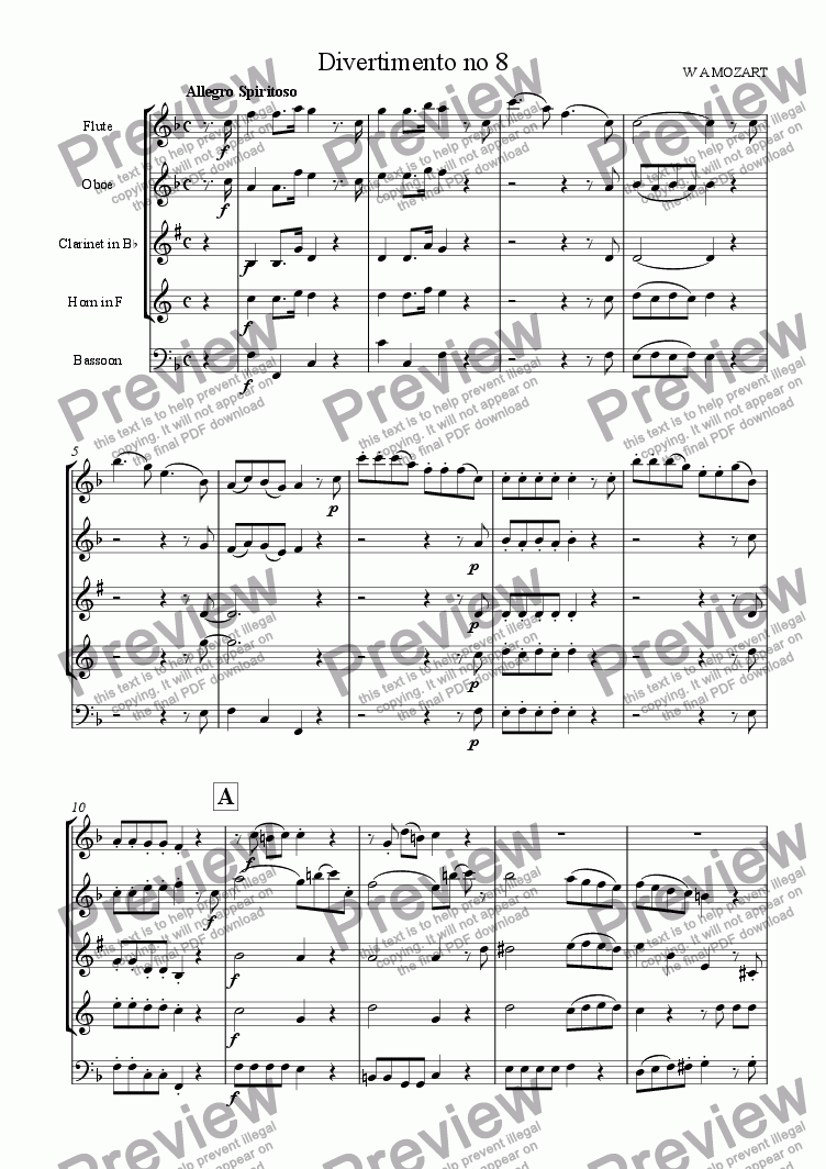 page one of Divertimento no 8 (K213) movt 1 Allegro Spiritoso