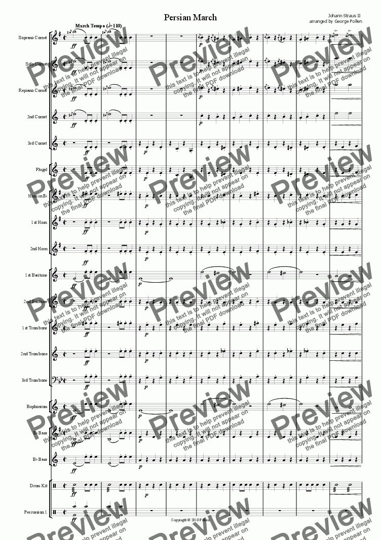 page one of Persian March Op. 289 for Brass BandASALTTEXT