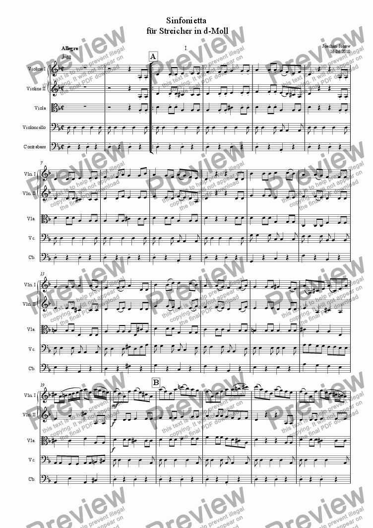 page one of Sinfonietta for Strings 1st  movement