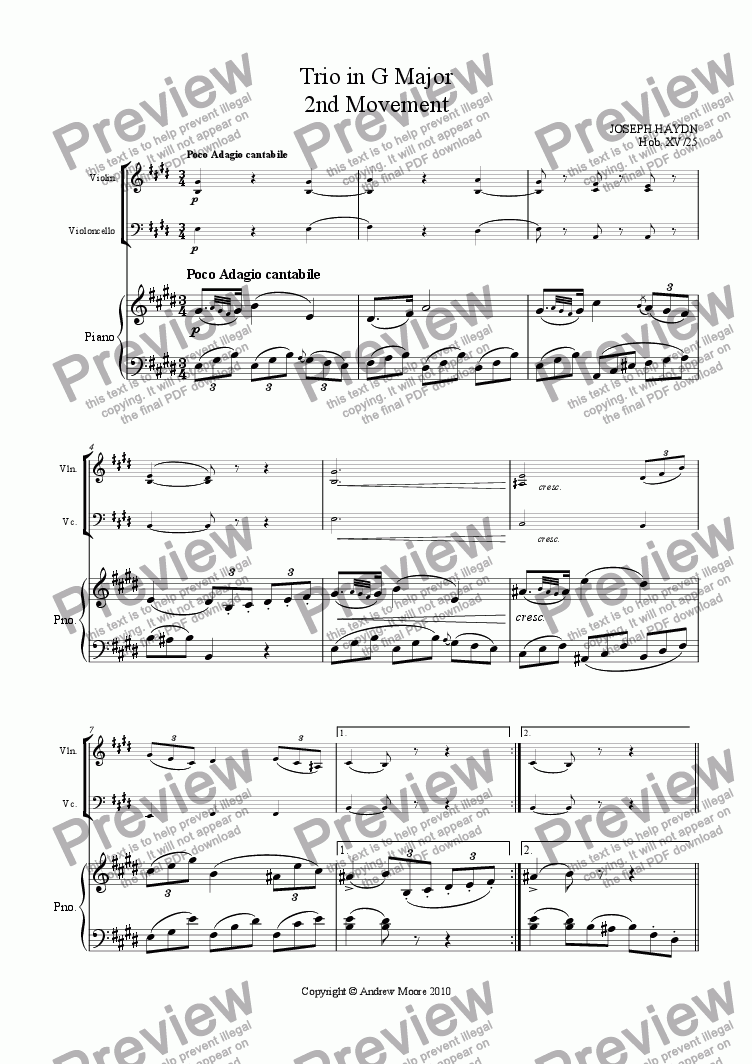 page one of Piano Trio in G Major  (Hob. XV/25) - 2nd Movement