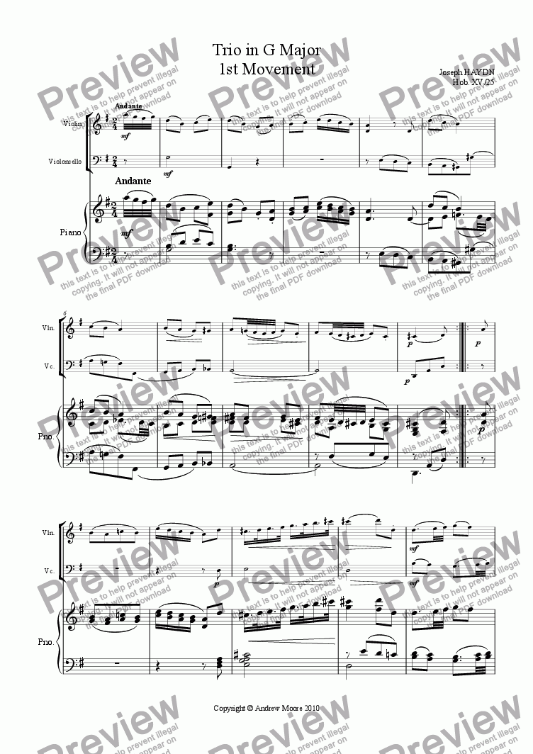 page one of Piano Trio in G major (Hob.XV/25) - 1st Movement