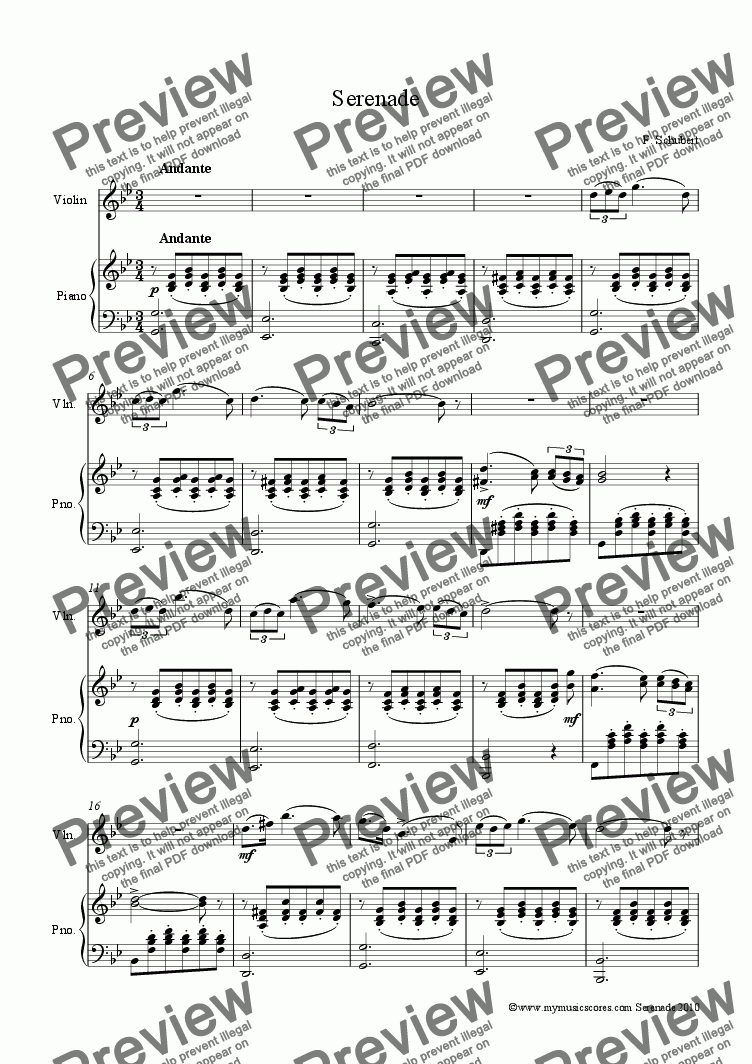 page one of Schubert Serenade for Violin and Piano