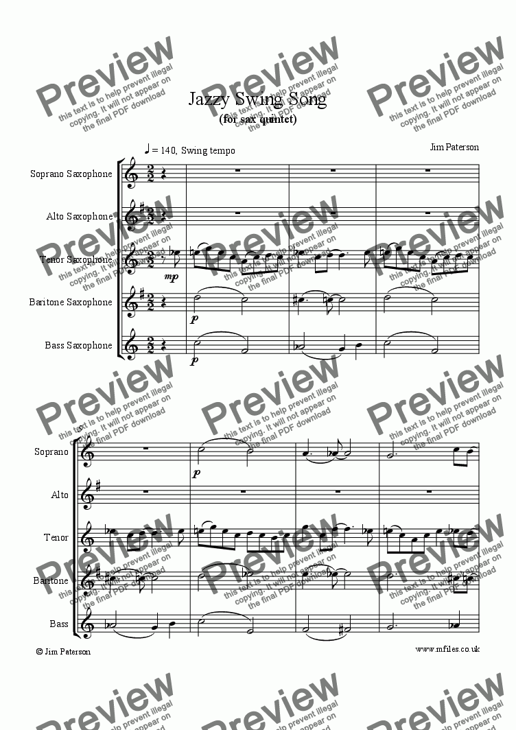 page one of Jazzy Swing Song (Sax Quintet)