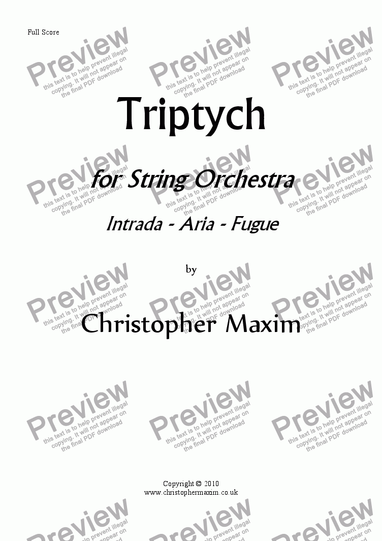 page one of Triptych for Strings