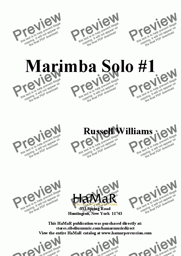 page one of Marimba Solo #1