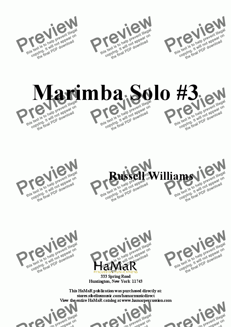 page one of Marimba Solo #3
