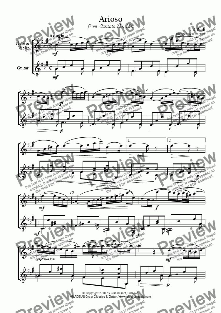 page one of Arioso from Cantata 156 for flute or violin and easy guitarASALTTEXT