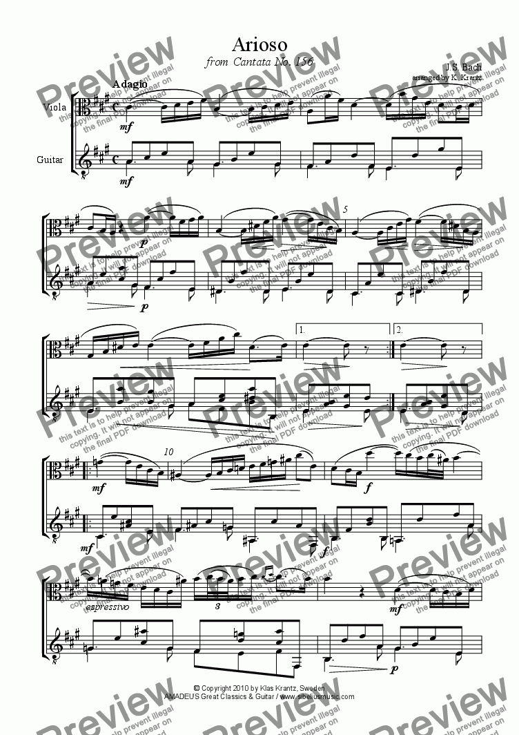page one of Arioso from Cantata 156 for viola and guitar