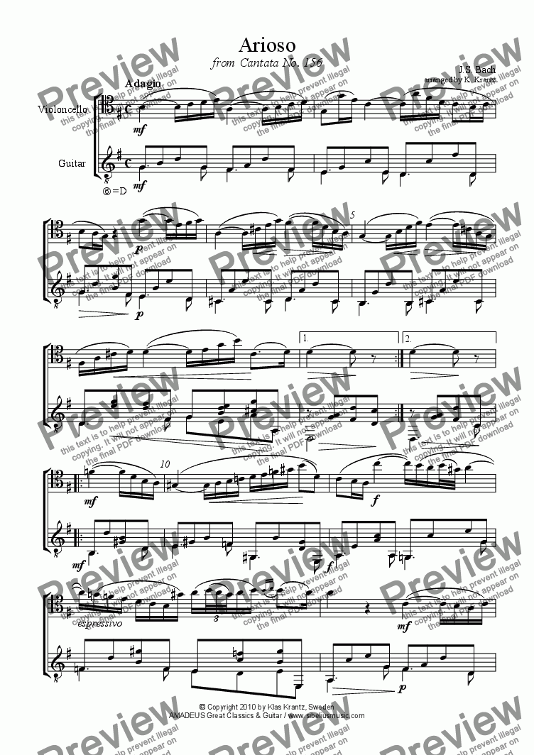 page one of Arioso from Cantata 156 for violoncello and guitar