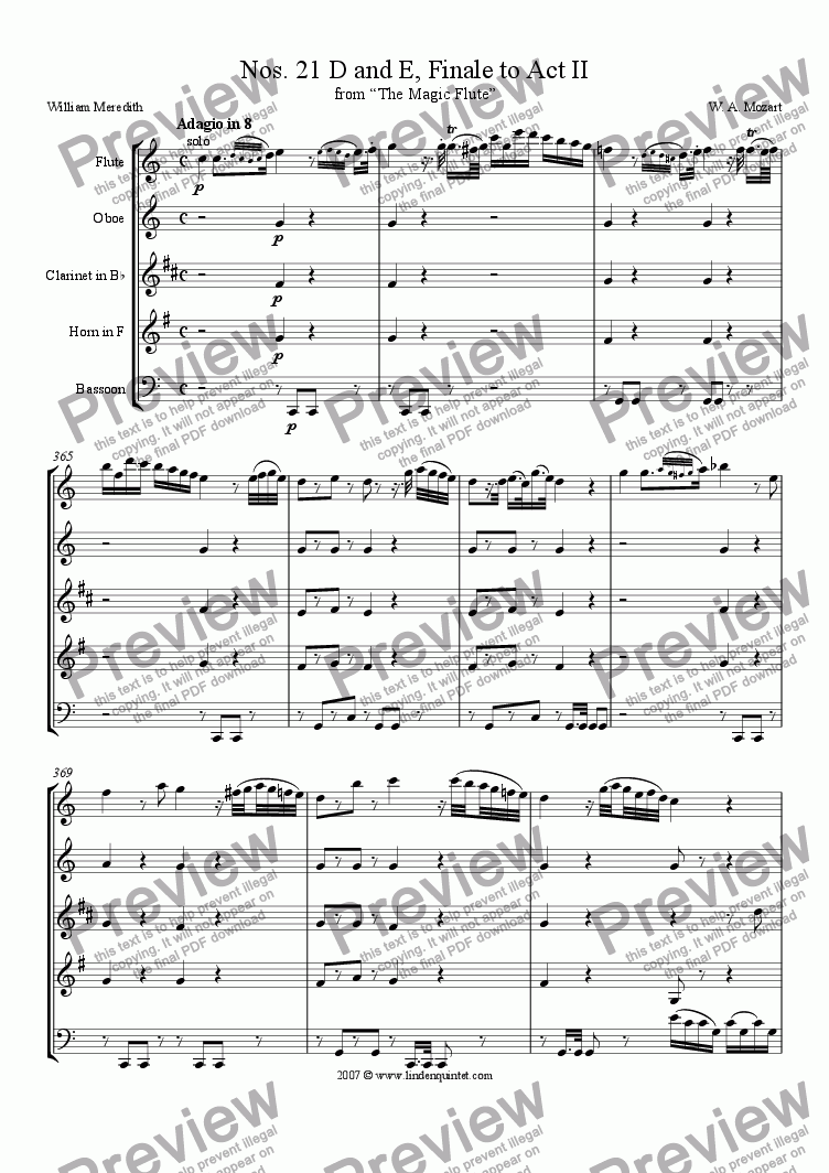 page one of Mozart - Magic Flute No. 21 D and E