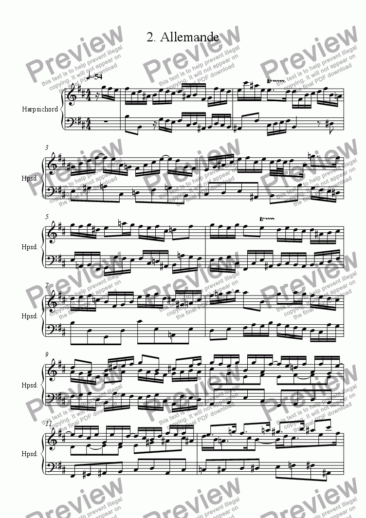 page one of Harpsichord Partita in B minor 2 Allemande R. 114