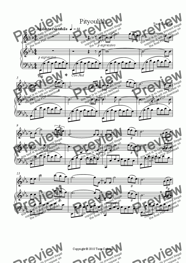 page one of Pityoulish for Violin and Piano from Cairngorm Impressions