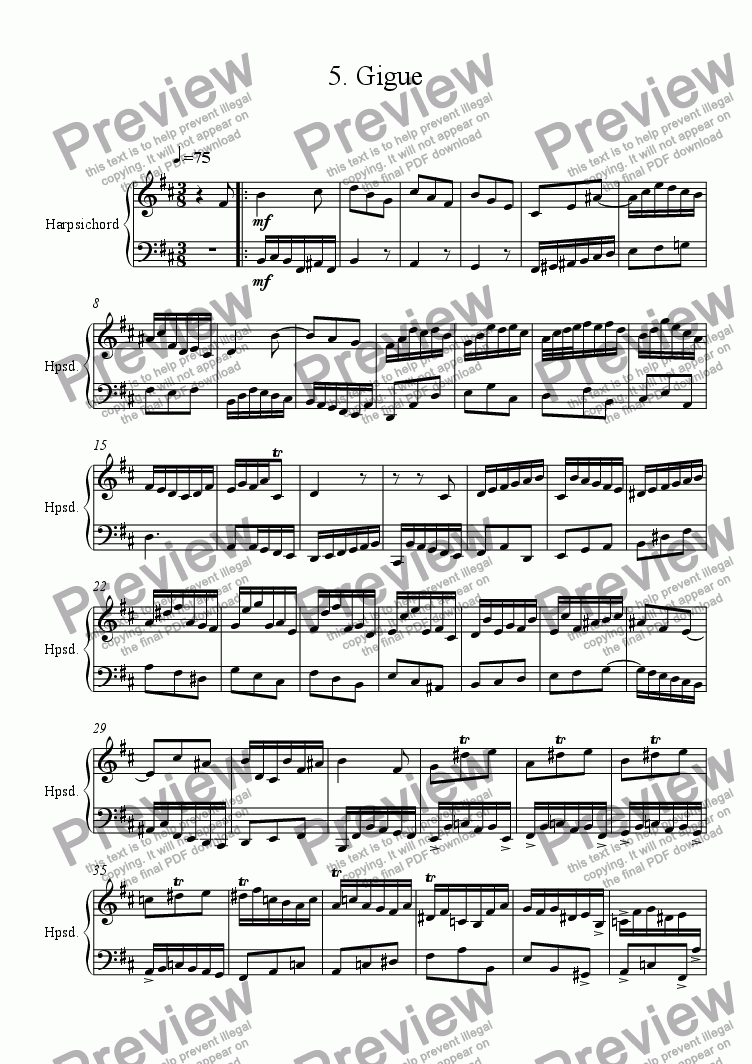 page one of Harpsichord Partita in B minor 7. Gigue R. 114