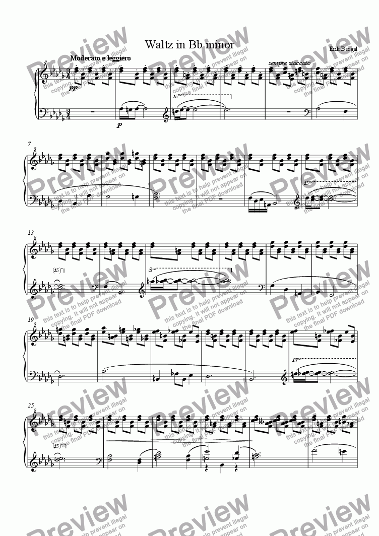 "page one of Waltz in Bb minor, ""Snowy"""