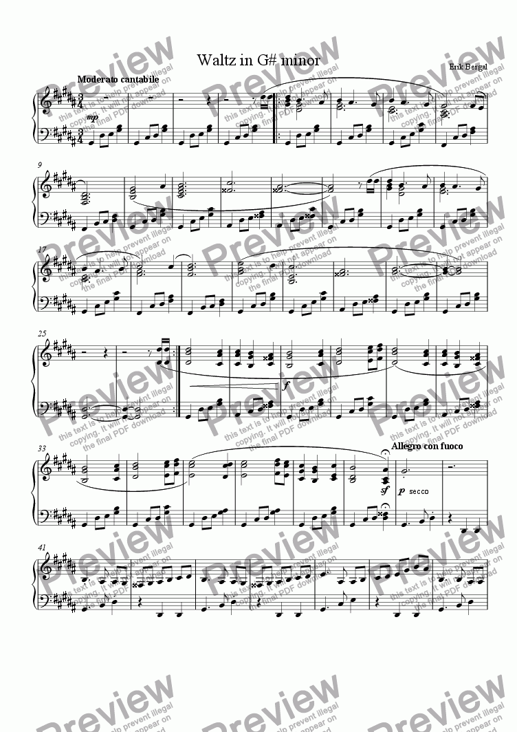 page one of Waltz in G# minor