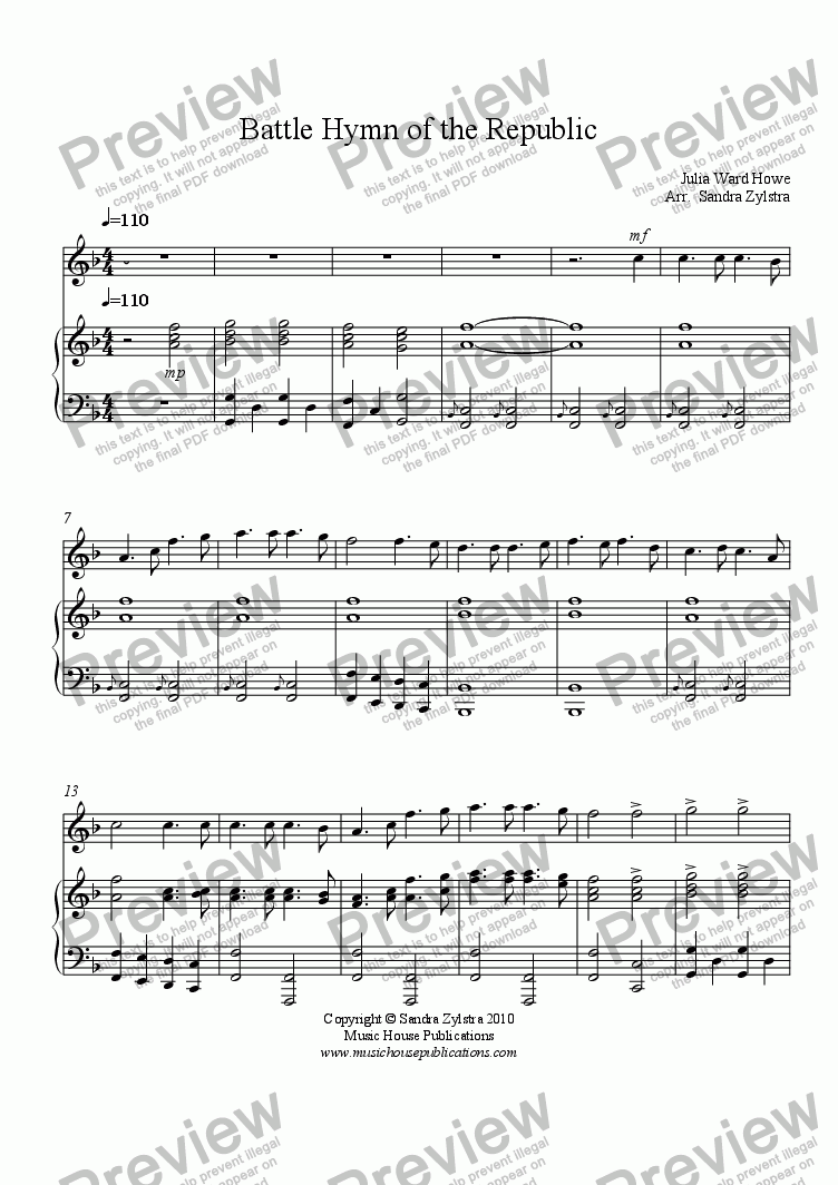 page one of Battle Hymn of the Republic (solo inst. & piano)