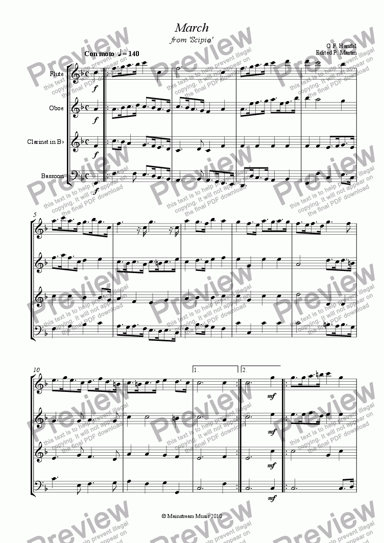 page one of March No.2 from 'Scipio' - Wind Quartet