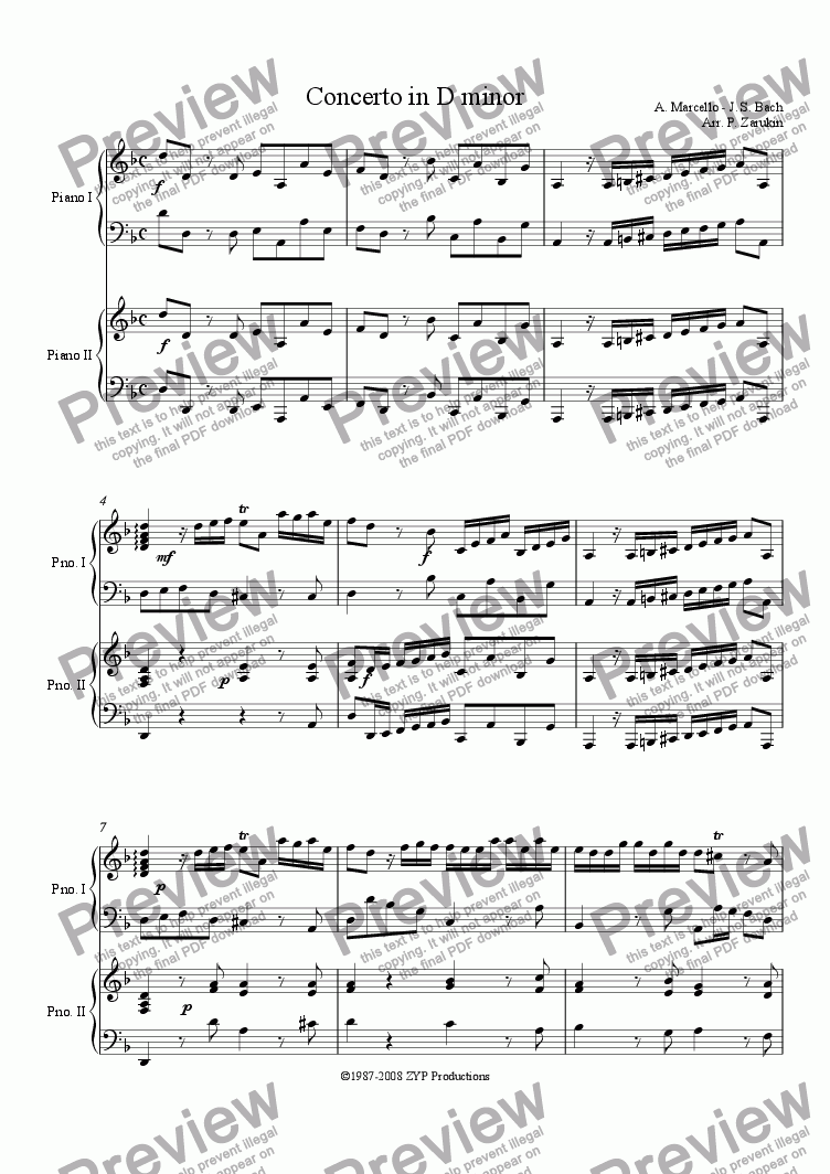 page one of Marcello-Bach Concerto in D minor I Allegro
