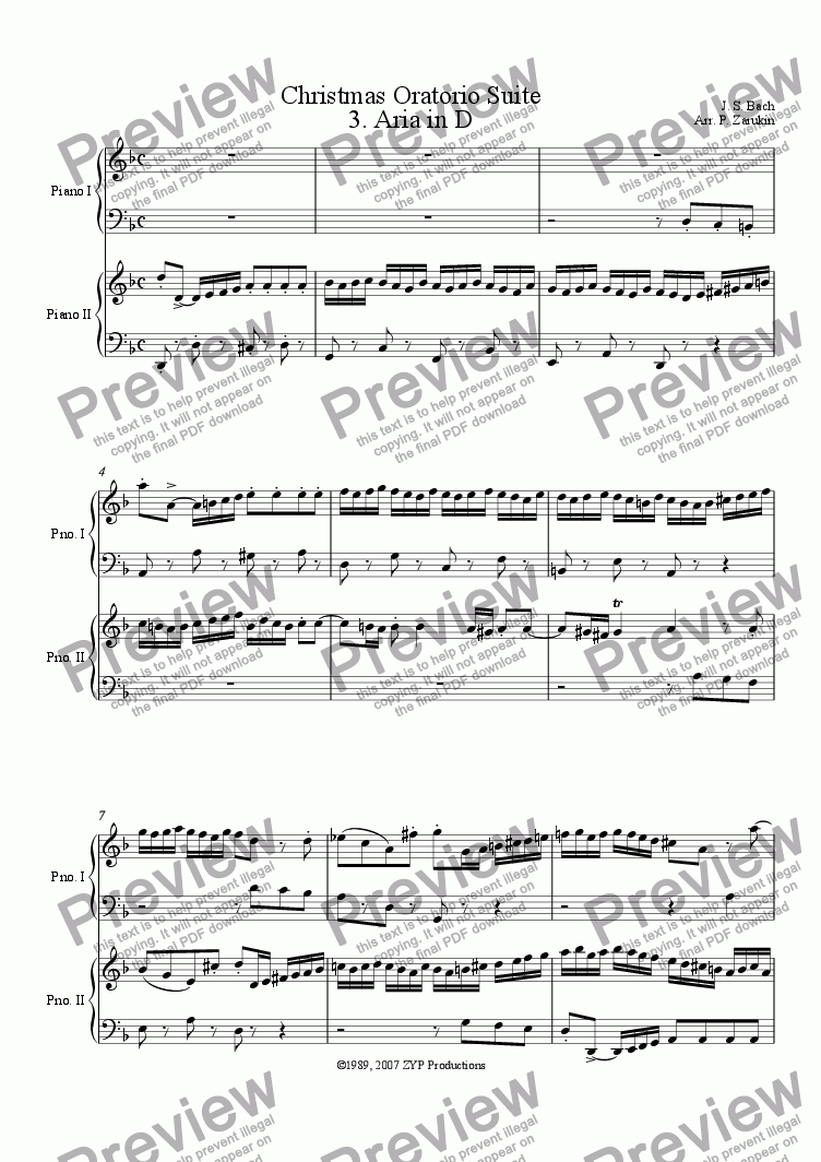 page one of Christmas Oratorio Suite for piano duet - 3. Aria in D