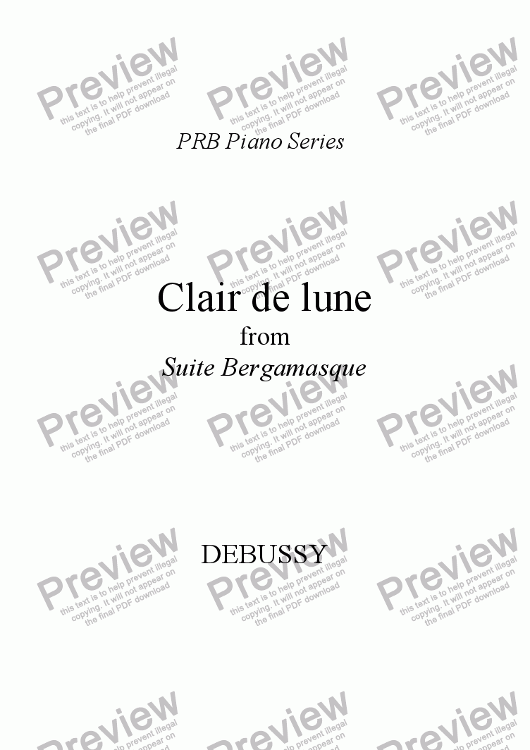 page one of PRB Piano Series: Clair de lune