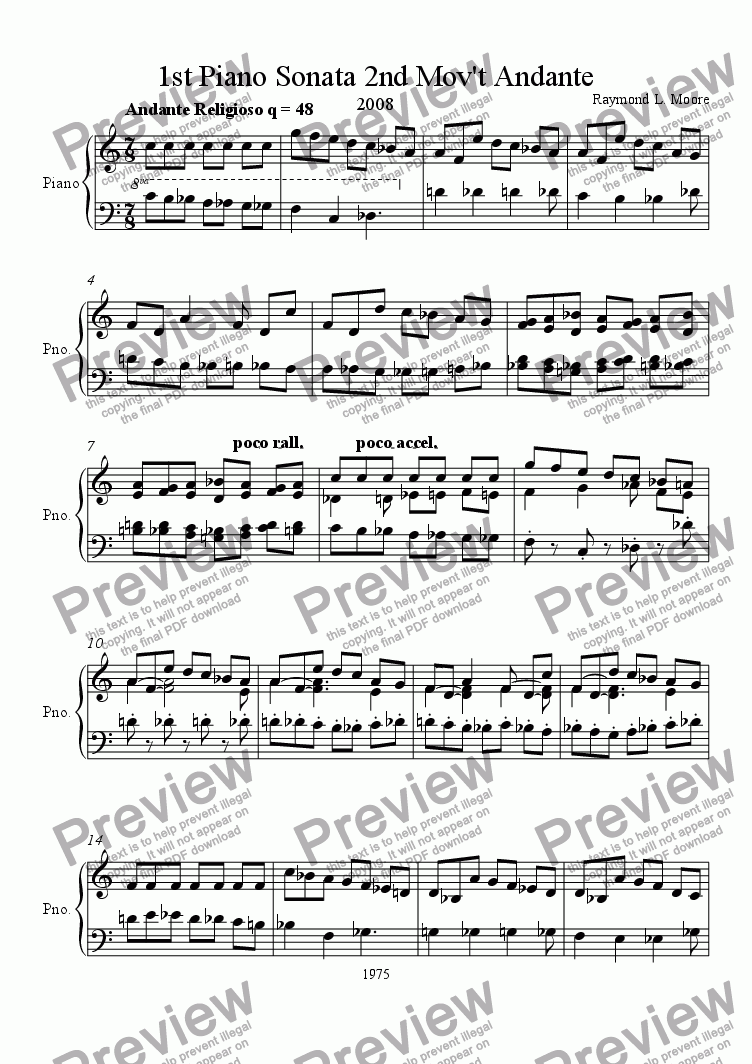 page one of 1st Piano Sonata 2nd Mov't. (classical)