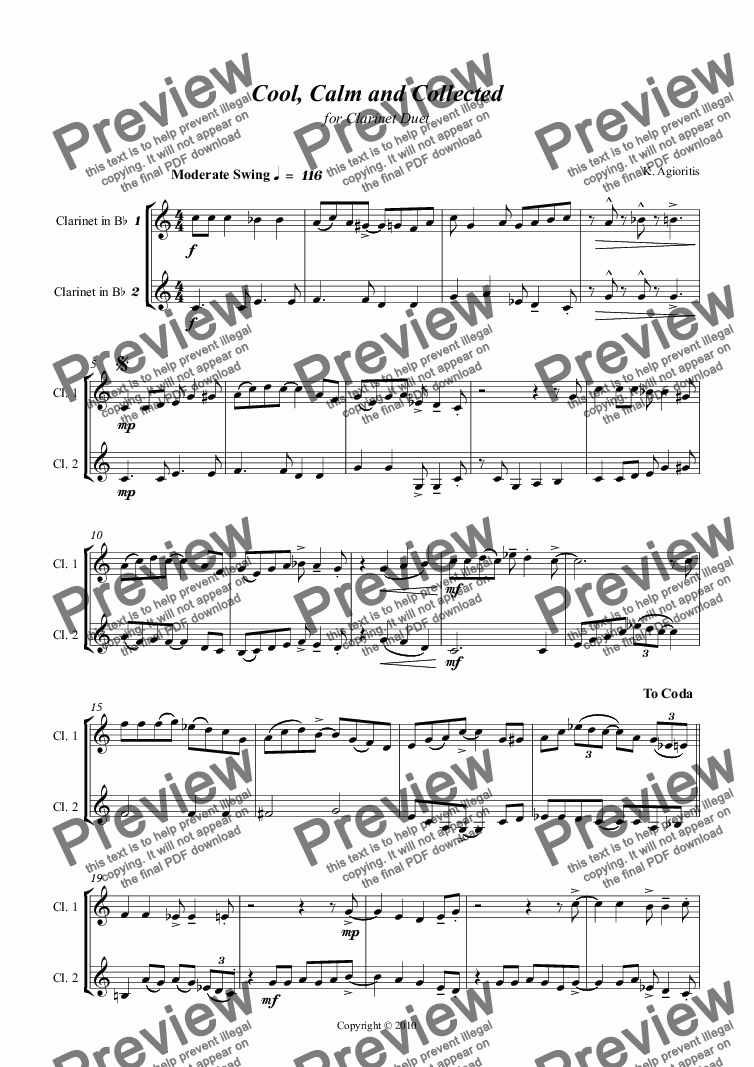 page one of Cool, Calm and Collected - for Clarinet Duet