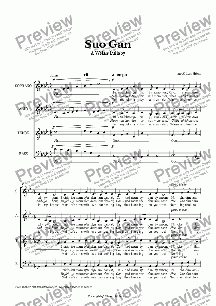 page one of Suo Gan (a Welsh Lullaby)