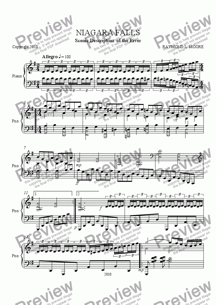 page one of  Niagara Falls from the Scenes of NY(classical)