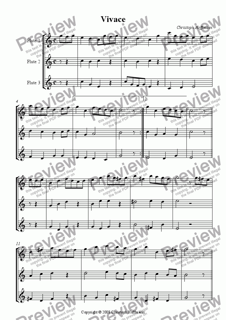 page one of C) Vivace for 3 Flutes