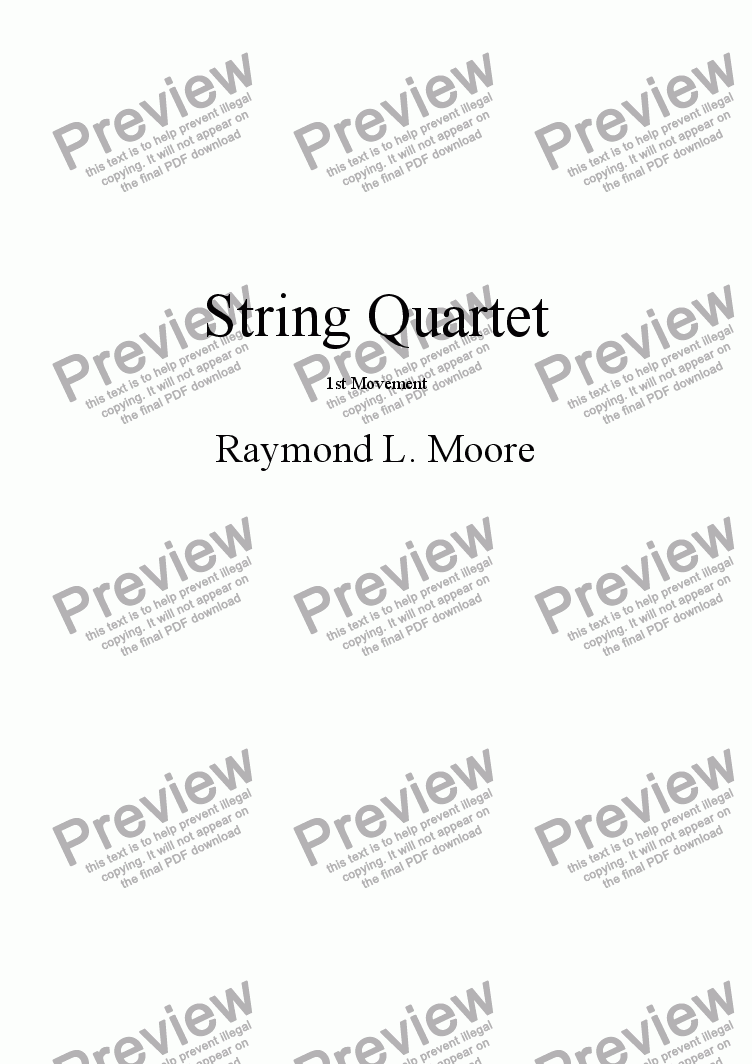 page one of String Quartet 1st Movement (classical)